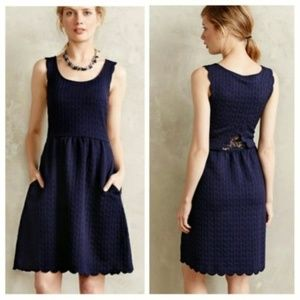 Maeve Scalloped Textured Lace Insert Dress